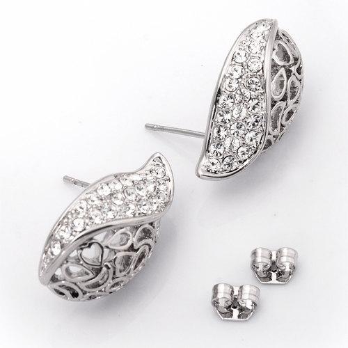 Swarovski crystal 18k white Gold plated cute Shell earrings