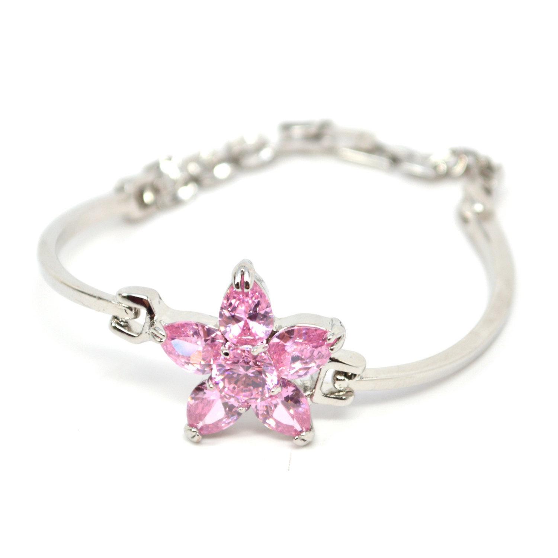 Silver Toned Pink Zircon Flower Box Clasp Ladies Bracelet - $23.00