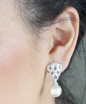 Elegant White Gold Plated Imitation Pearl And Zircon Crystal Earrings Mothers Da - $18.00