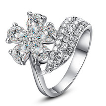 In All Your Floral Glory Vegan Diamond Fashion Statement Ring - $23.00
