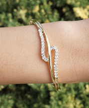 HOLIDAY CLEARANCE SALE! Swirl Swarovski Crystal Bangle Bracelet In Yello... - $18.00