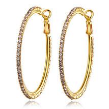 18k gold plated swarovski crystal big hoop earrings - $17.00