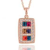 Women's Alloy Pendant Necklace with Colored Swarovski Element Crystals - $25.00