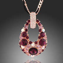 Rose Gold Plated Swarovski Element Crystal Pendant Necklace - $27.00