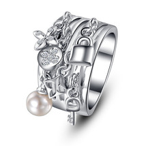 Famous French Designer inspired Swarovski Element Crystal and Pearl Ring - $16.00