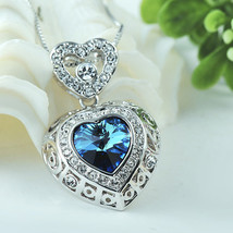 Silver Plated Heart Of The Ocean Royal Blue Gemstone With Heart Designed... - $26.00