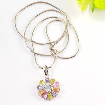 Multicolored Zircon Crystal Flower Pendent Necklace - $25.00