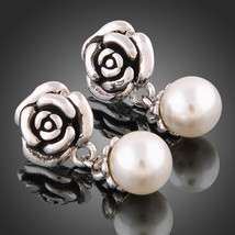 Elegant and classical rose-style 18k white gold plated pearl earring stud - $16.00
