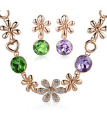Matching Alloy with Swarovski AG Crystal Earring and Necklace Set - $29.00