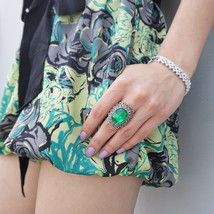 Vintage Style Ring with Faux Emerald Stone set in a Silver Plated Ring - $15.00