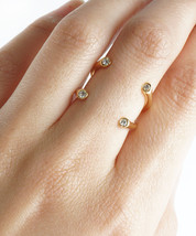 Modern Minimalist Ring Open End One Size Crystals in All Four Corners Minimalist - $14.00