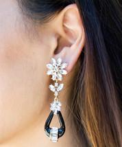 Vintage Style Statement Earrings Luxe Glam Flower Drop Black Geometric Enamel De - $20.00