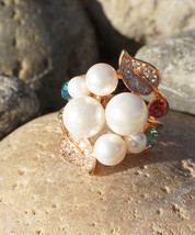 Gold Colored Multicolor Crystal Rhinestones Pearl Bouquet Jewelry Fashion Ring - $15.00