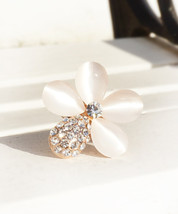 18k Rose Gold Plated Adjustable Flower Ring With White Opalite And Zirconia Crys - $17.00