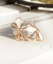 Elegant 18K Rose Gold Plated flower Ring with white moonstone and Crystals - $16.00