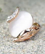 Sassy Fox With Opalite On Rose Gold Plated Base Fashion Ring - $16.00