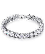 HOLIDAY CLEARANCE SALE! Tennis Bracelet In Genuine Rhodium Plating With ... - $17.99