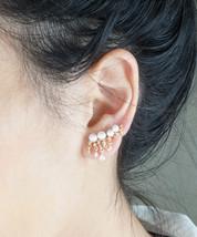Ear Cuffs Ear Climber Pearl and Sparkles Gold or Silver Dangle Ear Cuff Earrings - $18.60