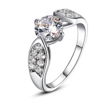 Classy Engagement Style Ring with Dazzling Cubic Zirconia Crystal And Pave Setti - $18.00