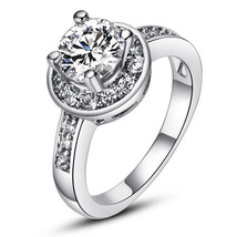 18k White Gold Plated Classic Halo Round Zircon Engagement Style Ring - $24.00
