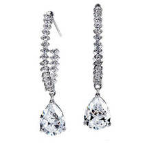 Bridal Bridesmaids Earrings Wedding Refined and Graceful 18k White Gold GP Cryst - $24.00