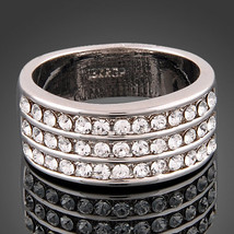 18k White Gold Plated Crystal Encrusted 3 Row Pave Ring - $15.00