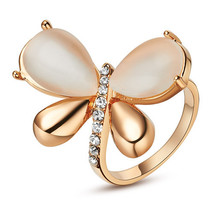 18k Gold Plated Butterfly Ring With Opalite And Austrian Crystals - $22.00