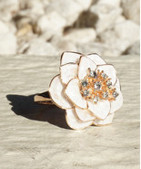 Gardenia Inspired Flower Ring With Rose Gold Plating And Swarovski Cryst... - $16.00