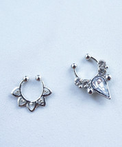 Silver or Gold Teardrop Crystal Faux Septum Clip on Nose Ring Set of Two - $18.00