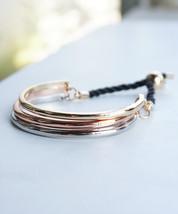Triple Tone Gold Silver Bronze Stacking Adjustable Bracelet - $21.00