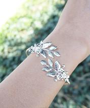 Leaf Bracelet Floral Leaf Gold Plated or Silver Plated Goddess Adjustable Bangle - $15.00