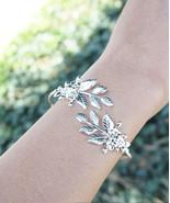 Leaf Bracelet Floral Leaf Gold Plated or Silver Plated Goddess Adjustabl... - $15.00