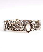 Antique Gold or Silver Tone White Opal Filigree Ornate Vintage Bangle Bracelet - $15.00
