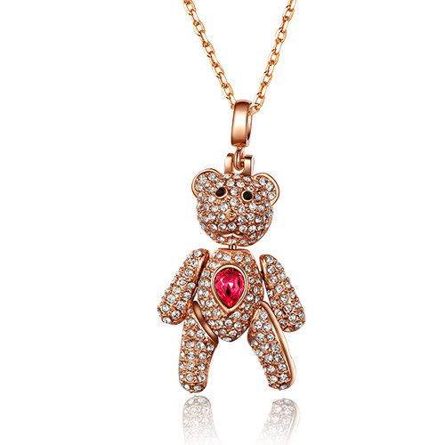 Austrian Crystal Dangle Teddy-Bear Pendant Necklace Mothers Day Gift Idea