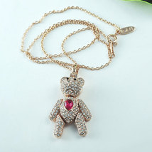 Austrian Crystal Dangle Teddy-Bear Pendant Necklace Mothers Day Gift Idea image 2