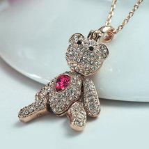 Austrian Crystal Dangle Teddy-Bear Pendant Necklace Mothers Day Gift Idea image 3