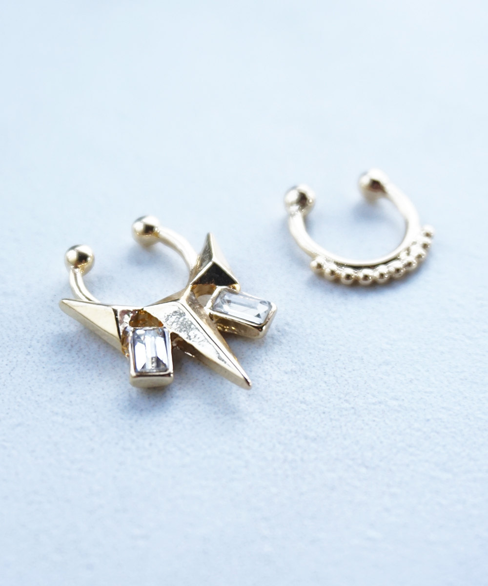 Gold or Silver Spike Studs Faux Septum Nose Clip On Ring SET OF TWO - $18.00