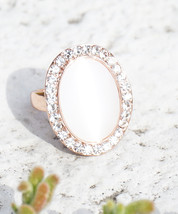 Rose Gold Plated Single Pearl with Swarovski Element Crystal Border Fash... - $16.00