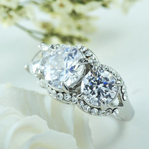 Holiday Clearance Sale! 3 Stone Cubic Zirconia Engagement / Promise Ring On Silv - $15.99