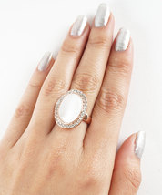 Rose Gold Plated Single Pearl with Swarovski Element Crystal Border Fashion Ring image 2