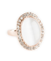 Rose Gold Plated Single Pearl with Swarovski Element Crystal Border Fashion Ring image 3