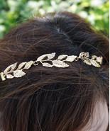 Gold Leaf Greek Goddess Summer Elastic Headband Bridal Wedding Hair Piece - $14.00