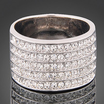 Bridesmaids Wedding Bridal Statement Ring 5 Row Pave Fashion Ring With Zircon Cr - $18.00