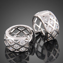 Pretty and Sweet 18k white gold plated SWAROVSKI crystal hoop earrings - $16.00