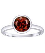 1.29CT 14K Gold Solid Bezel Natural Round Genuine Garnet Engagement Ring... - $429.14