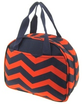 ORANGE/NAVY CHEVRON ZIG ZAG PRINT CANVAS LUNCH TOTE BAG WITH THERMAL LIN... - $21.95