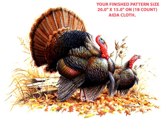 WiLd Turkey Pair Cross Stitch Pattern***LOOK***