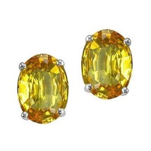 2.00 - 3.50CT Women's 14K WG Plated Silver Citrine Oval Shape Stud Earrings - $20.83+