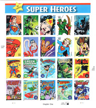 USA Stamp Sheet SUPER HEROES DC COMICS Chapter One 0.39 X 20 - MINT - $29.50