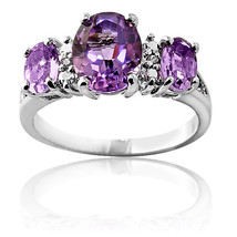 3.16CT Women's Unique Oval Cut Amethyst Design Ring 14K WG Covered 925 S... - £57.09 GBP